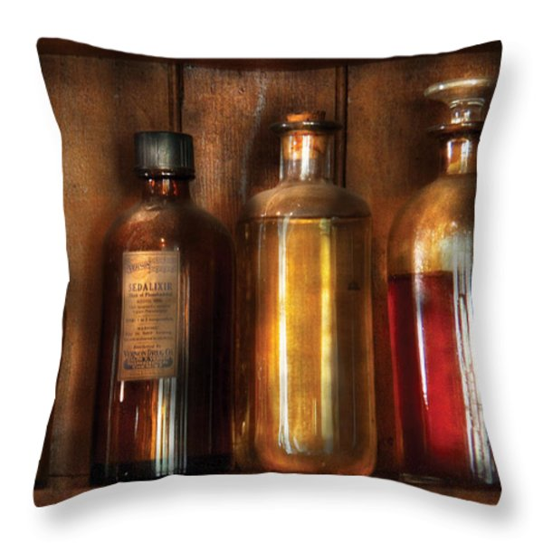 Pharmacist - Various Elixirs  Throw Pillow by Mike Savad