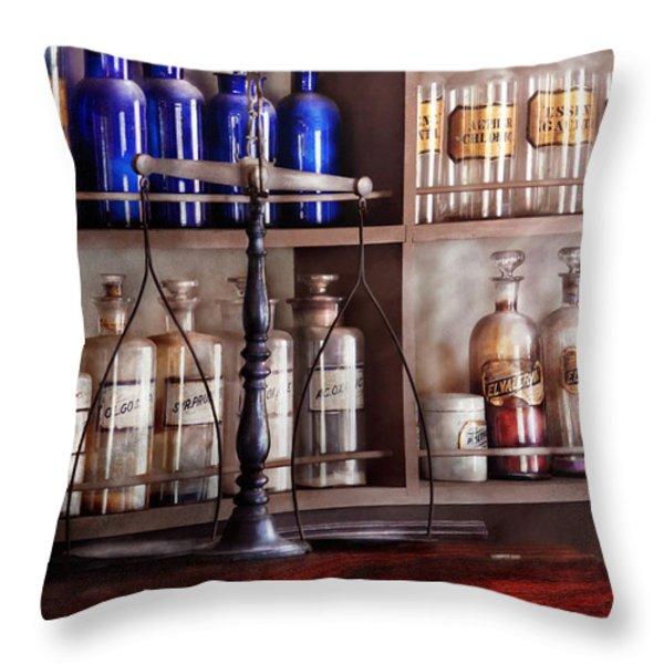 Pharmacy - Apothecarius  Throw Pillow by Mike Savad