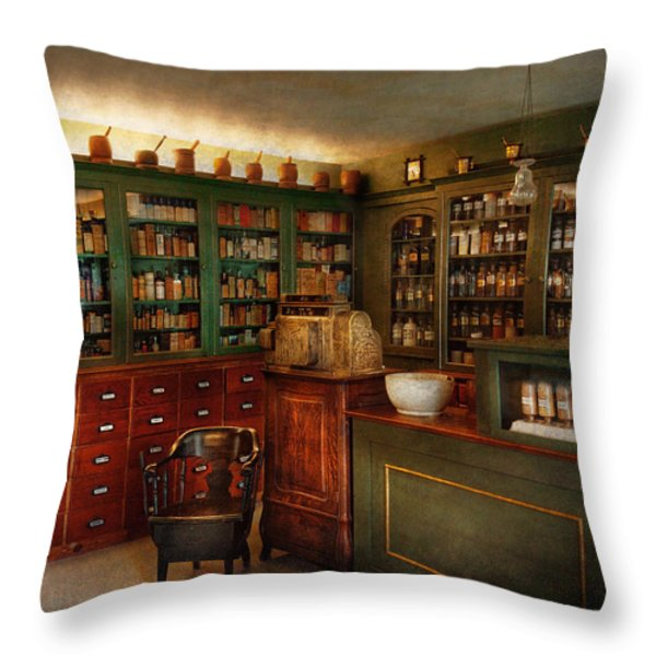 Pharmacy - Patent Medicine  Throw Pillow by Mike Savad