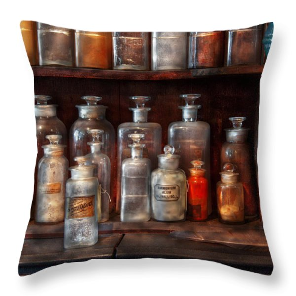 Pharmacy - The Chemistry Set Throw Pillow by Mike Savad