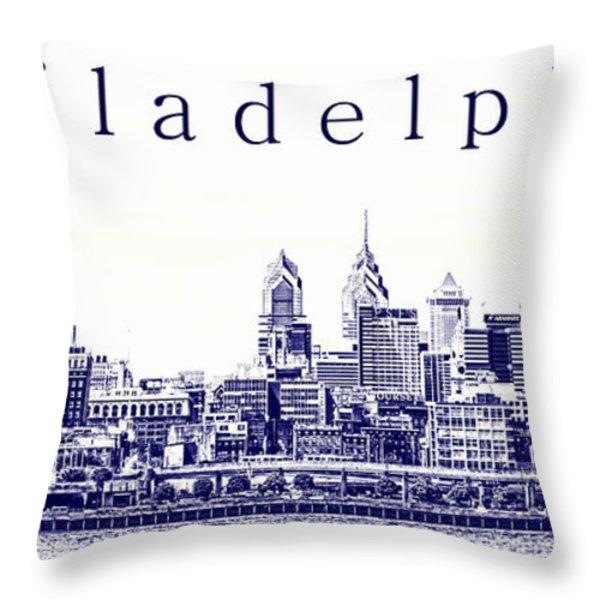 Philadelphia Blueprint  Throw Pillow by Olivier Le Queinec