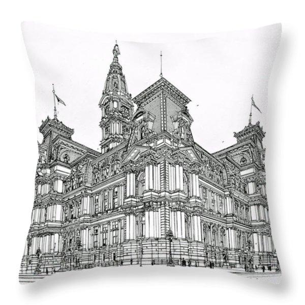 Philadelphia City Hall 1911 Throw Pillow by Ira Shander