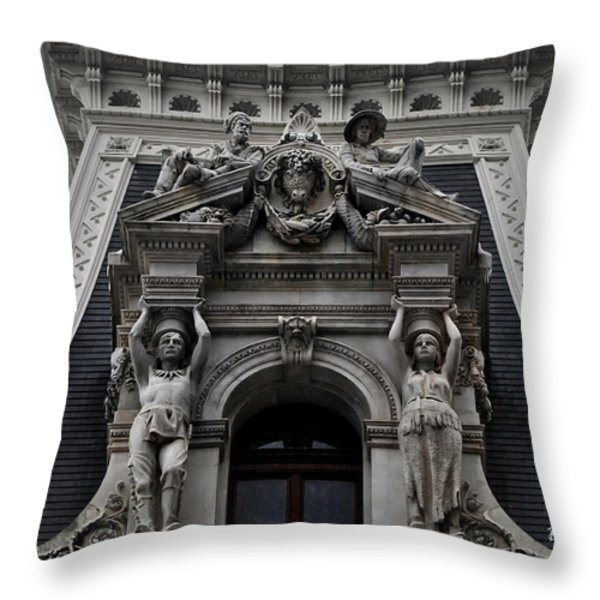 Philadelphia City Hall Dormer Window Throw Pillow by Bill Cannon