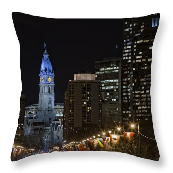 Philadelphia City Hall Throw Pillow by Eduard Moldoveanu