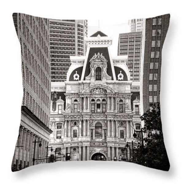 Philadelphia City Hall Throw Pillow by Olivier Le Queinec