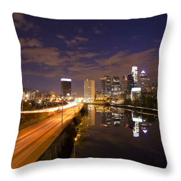 Philadelphia Cityscape from South Street at Night Throw Pillow by Bill Cannon