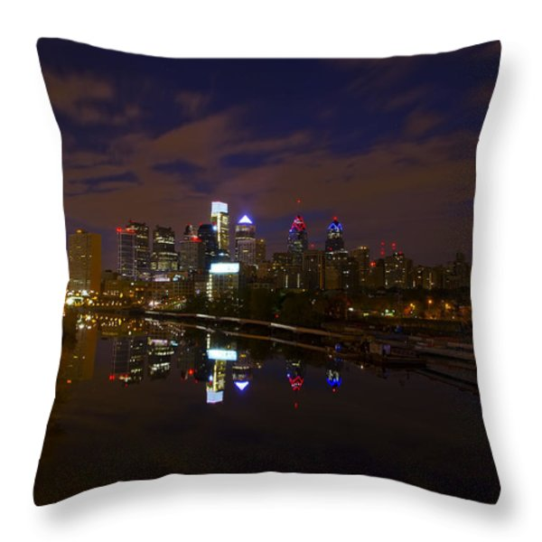 Philadelphia From South Street At Night Throw Pillow by Bill Cannon