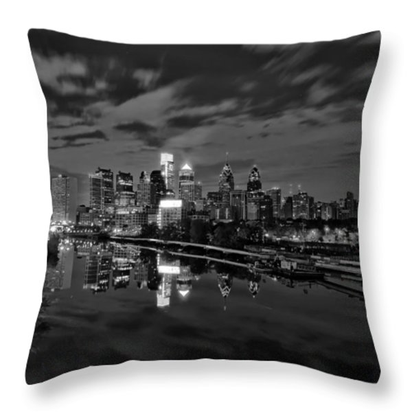Philadelphia From South Street At Night in Black and White Throw Pillow by Bill Cannon