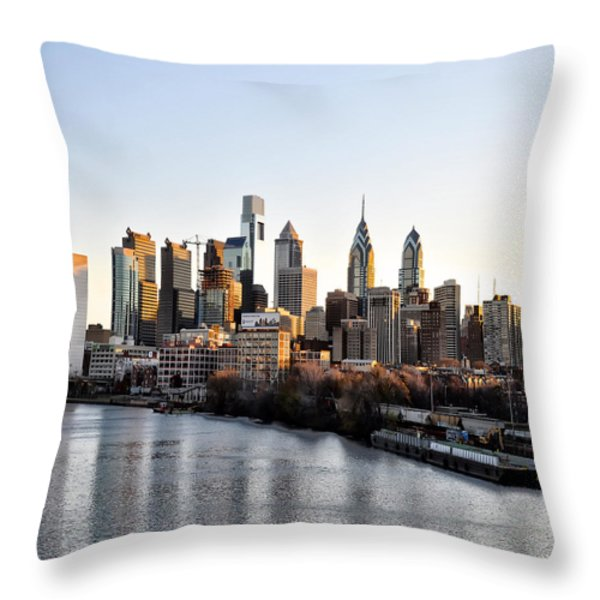 Philadelphia in the Morning Light Throw Pillow by Bill Cannon
