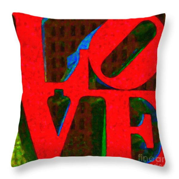 Philadelphia LOVE - Painterly v1 Throw Pillow by Wingsdomain Art and Photography