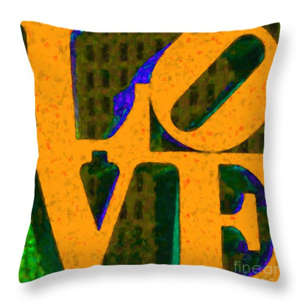 Philadelphia LOVE - Painterly v4 Throw Pillow by Wingsdomain Art and Photography