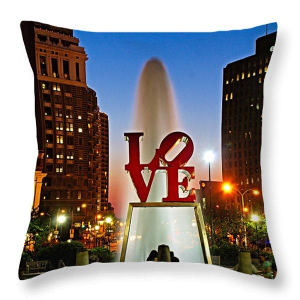 Philadelphia LOVE Park Throw Pillow by Nick Zelinsky