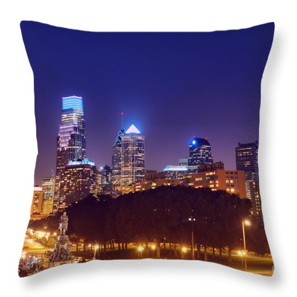 Philadelphia Nightscape Throw Pillow by Olivier Le Queinec