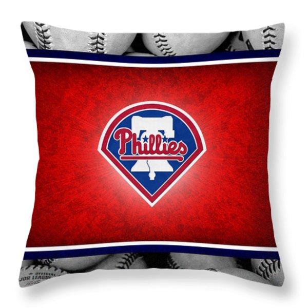 PHILADELPHIA PHILLES Throw Pillow by Joe Hamilton