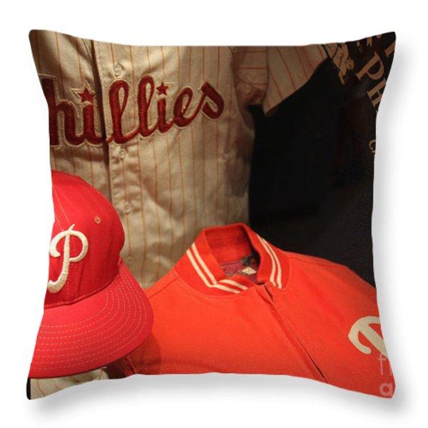 Philadelphia Phillies Throw Pillow by David Rucker