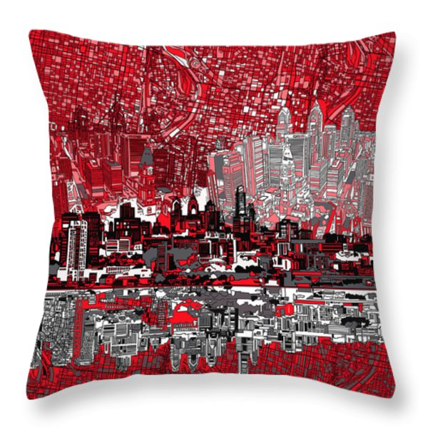 philadelphia skyline abstract 4 Throw Pillow by MB Art factory