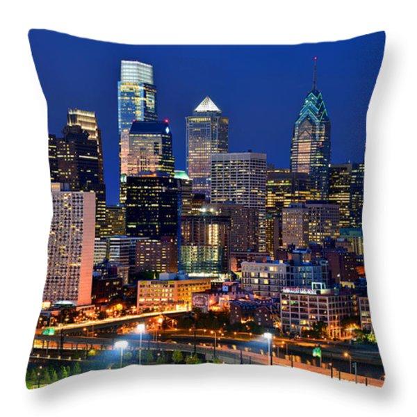Philadelphia Skyline At Night Throw Pillow by Jon Holiday