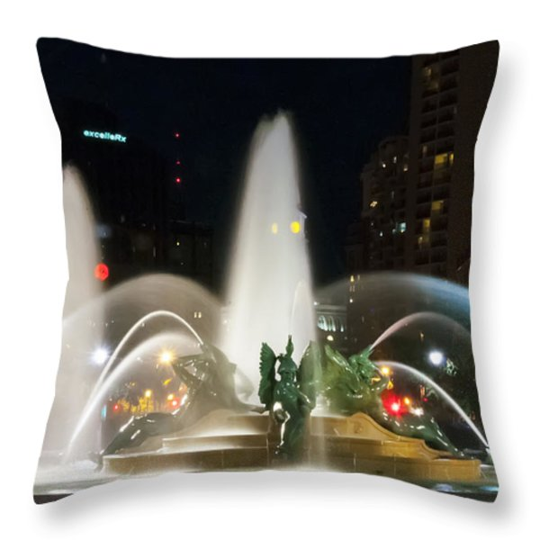 Philadelphia - Swann Fountain - Night Throw Pillow by Bill Cannon