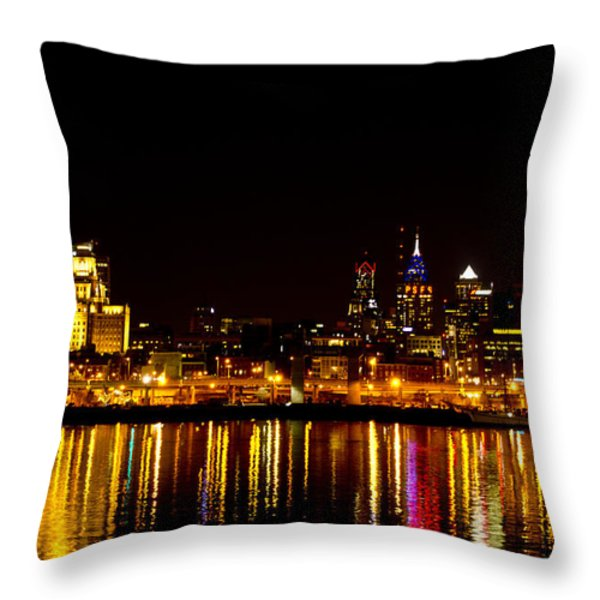 Philly Nights Throw Pillow by Bill Cannon