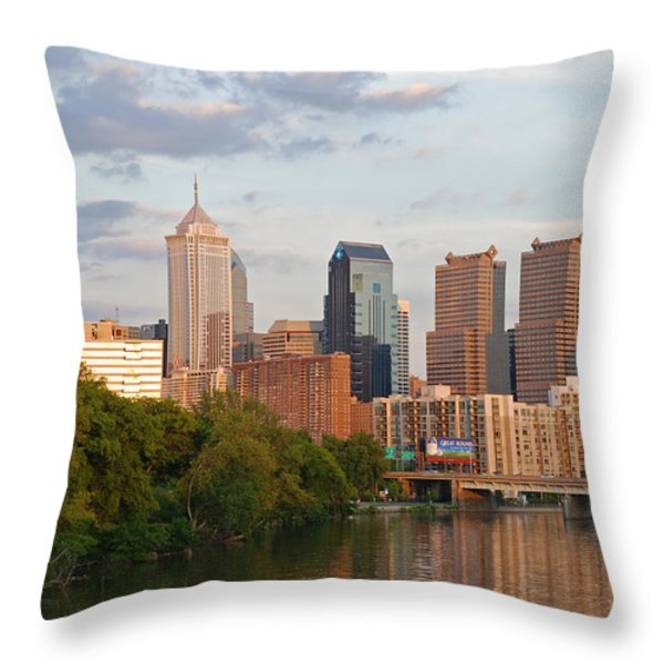 Philly summer skyline Throw Pillow by Jennifer Lyon