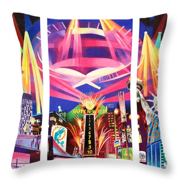 Phish New York for New Years Triptych Throw Pillow by Joshua Morton