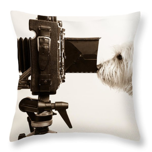 Pho Dog Grapher Throw Pillow by Edward Fielding