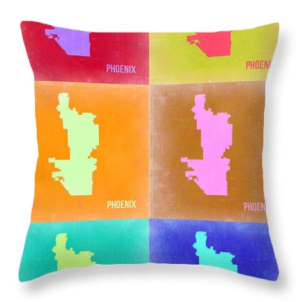 Phoenix Pop Art Map 3 Throw Pillow by Naxart Studio