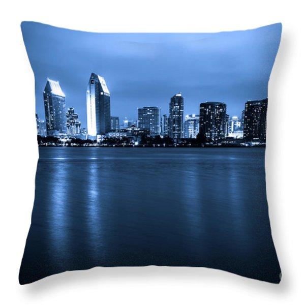 Photo of San Diego at Night Skyline Buildings Throw Pillow by Paul Velgos