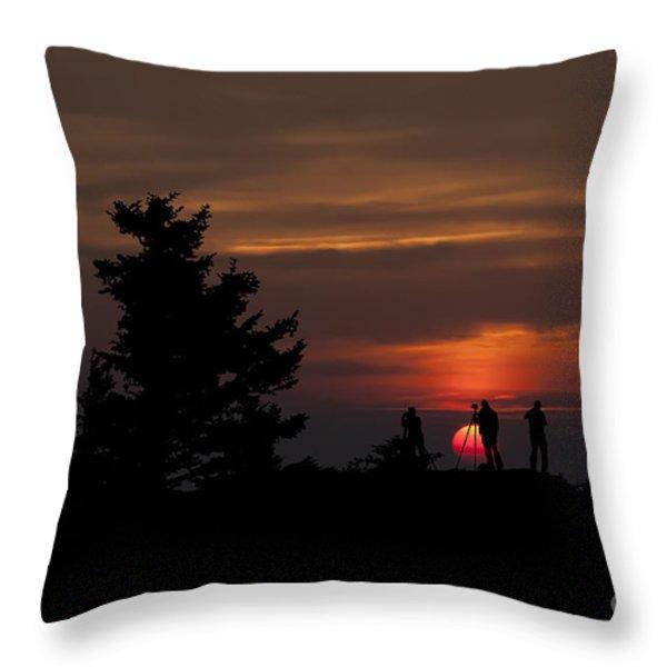 Photographers Shooting Sunrise At Bear Rocks Throw Pillow by Dan Friend
