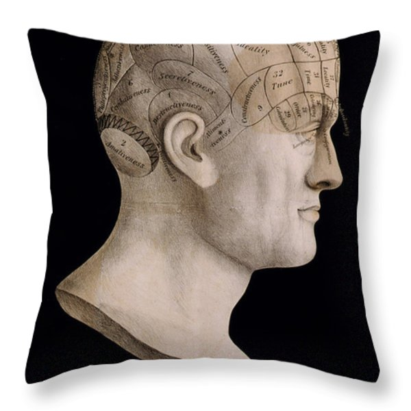 Phrenology Throw Pillow by Nomad Art And  Design