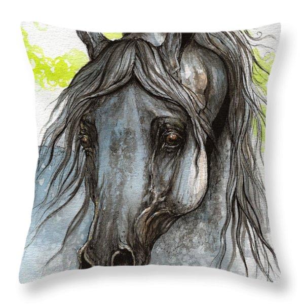 Piaff Polish Arabian Horse Watercolor  Painting 1 Throw Pillow by Angel  Tarantella