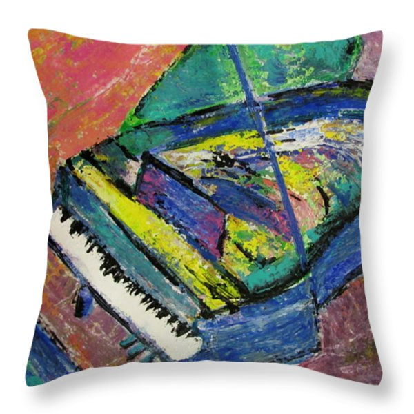 Piano Blue Throw Pillow by Anita Burgermeister