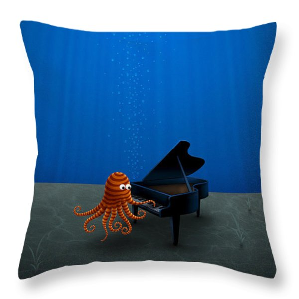 Piano Playing Octopus Throw Pillow by Gianfranco Weiss