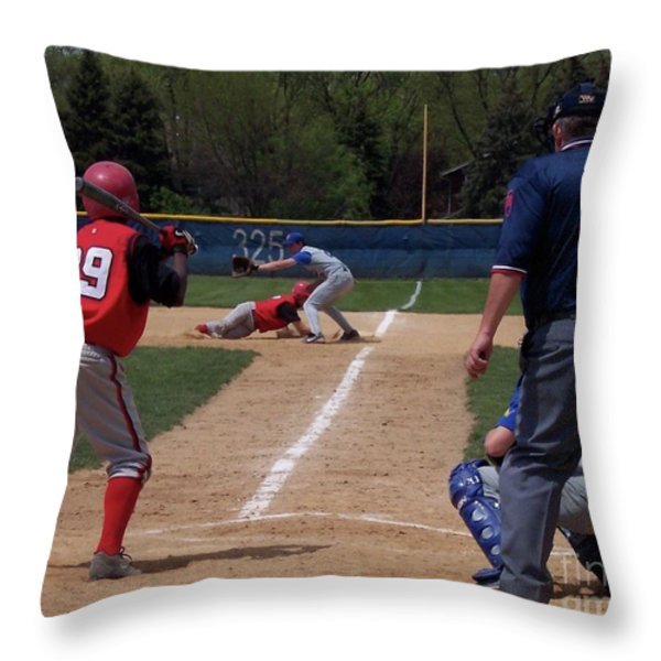 Pick Off Attempt At 1st Base Throw Pillow by Thomas Woolworth