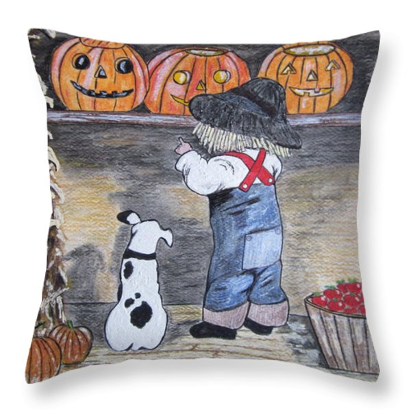 Picking Out The Halloween Pumpkin Throw Pillow by Kathy Marrs Chandler