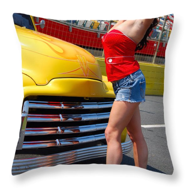 Pickup Pinup Throw Pillow by Mark Spearman