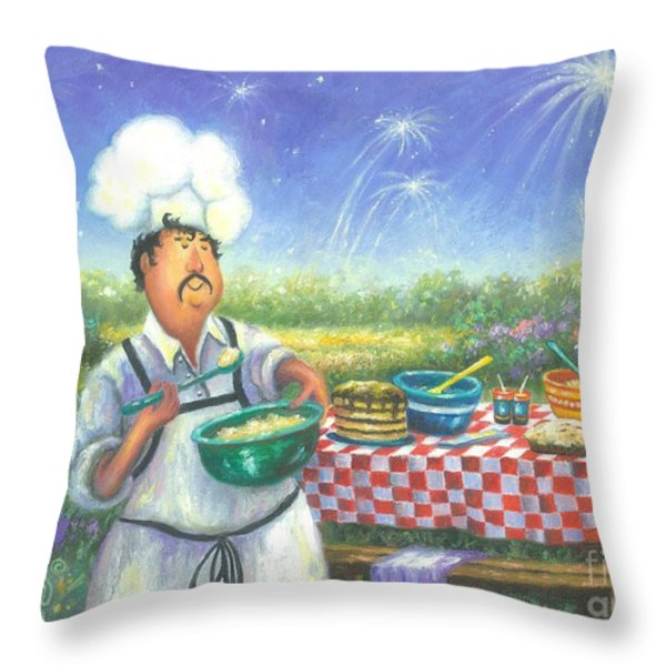Picnic Chef Throw Pillow by Vickie Wade