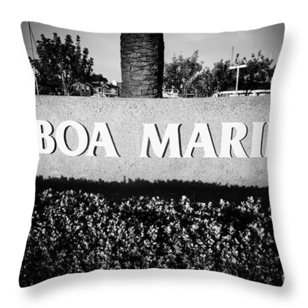 Pictue of Balboa Marina Sign in Newport Beach Throw Pillow by Paul Velgos