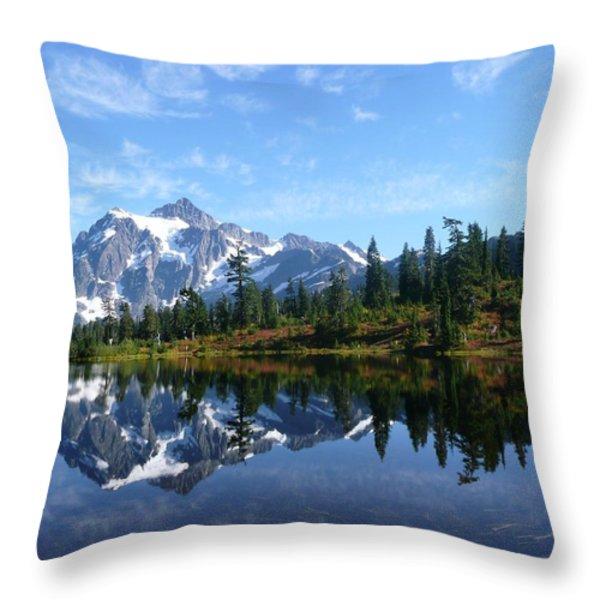 Picture Lake Throw Pillow by Priya Ghose