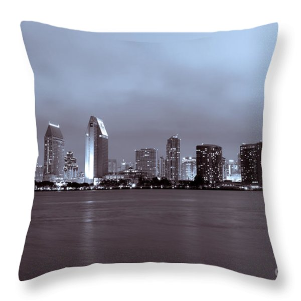 Picture of San Diego Skyline at Night Throw Pillow by Paul Velgos