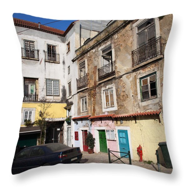 Picturesque Houses In Lisbon Throw Pillow by Artur Bogacki