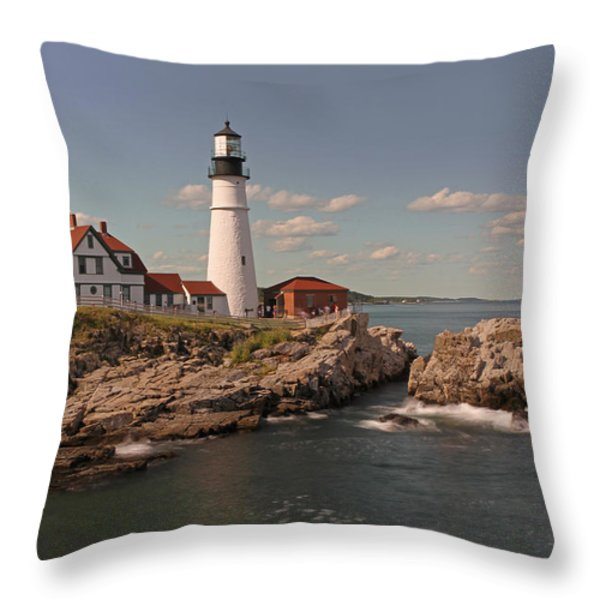 Picturesque Portland Head Light Throw Pillow by Juergen Roth