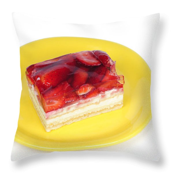 Piece of strawberry cake Throw Pillow by Matthias Hauser