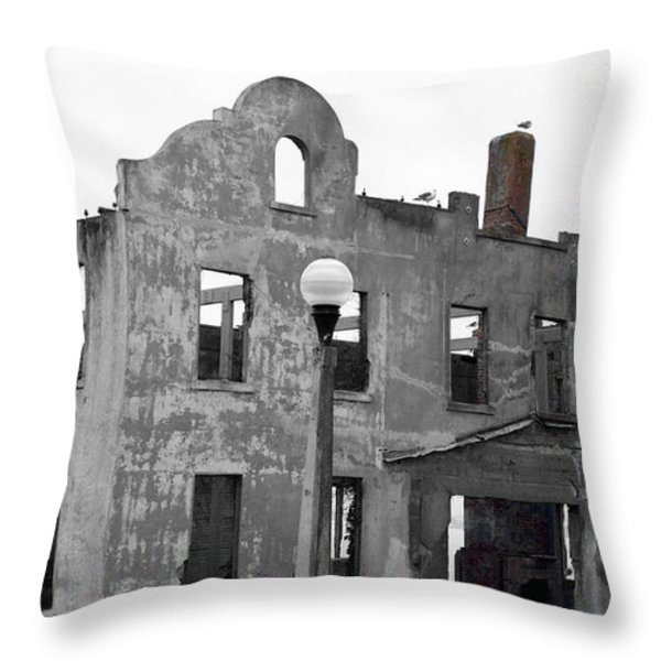 Pieces Of Alcatraz Island Throw Pillow by Cheryl Young