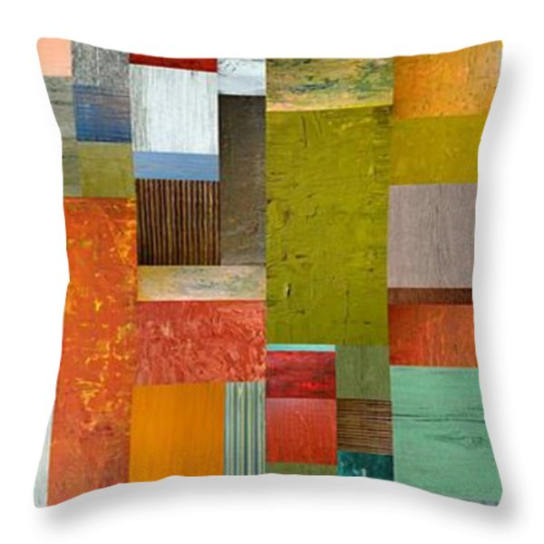 Pieces Parts Lll Throw Pillow by Michelle Calkins
