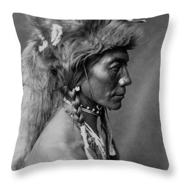 Piegan Indian Circa 1910 Throw Pillow by Aged Pixel