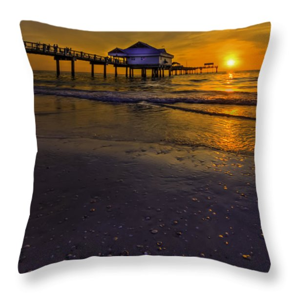 Pier Into The Sun Throw Pillow by Marvin Spates