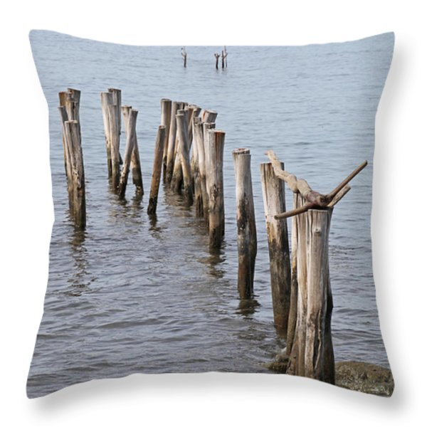 Pier Throw Pillow by Jim Nelson