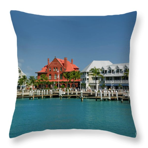Pier Key West Florida Throw Pillow by Amy Cicconi