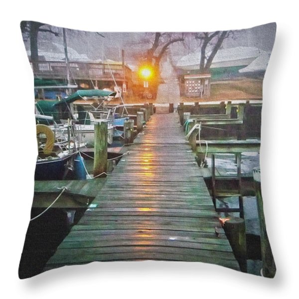 Pier Light - Oil Paint Effect Throw Pillow by Brian Wallace